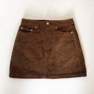 NWT H&M Brown Corduroy Skirt